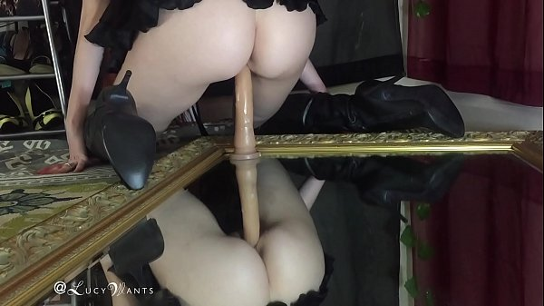 Boot, Boots, Dildo ride, Thighs, Mirror, Leather